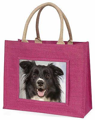 Border Collie Hund Große Rosa Einkaufstasche Weihnachten Geschenkidee,AD-BC30BLP