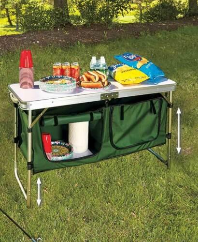 Portable Camping Table de cuisine avec rangement Mobilier Extérieur Cuisine Patio