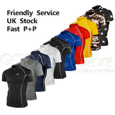 Mens Skins Short Sleeve TOP Compression Sports Base Layer Boys Shirt 3XL Take 5