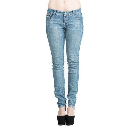 Women/'s Rhinestone Studs Mid Rise Stretch Denim Skinny Jeans Blue Size 1-16