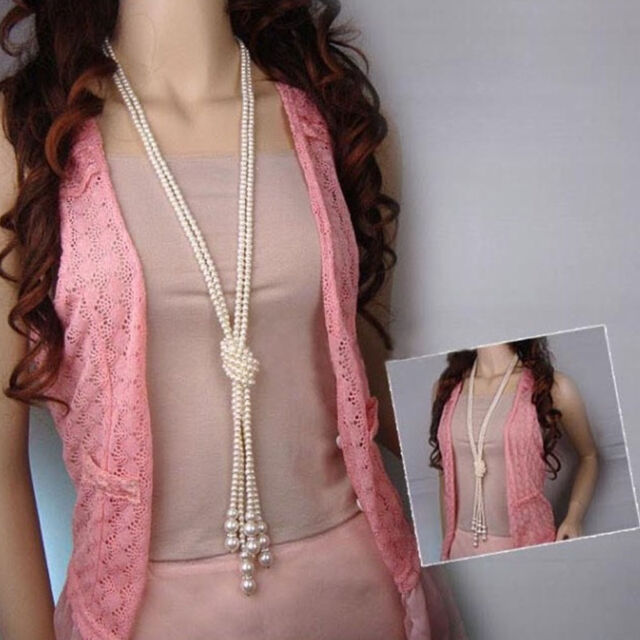 Fashion Women Long Crystal Beaded Sweater Chain Pendant Necklace Multi- Layers ff3104ad9b6c