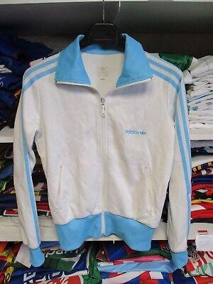 Veste ADIDAS sport blanc ciel rétro vintage tracktop jacket femme girl 38 | eBay