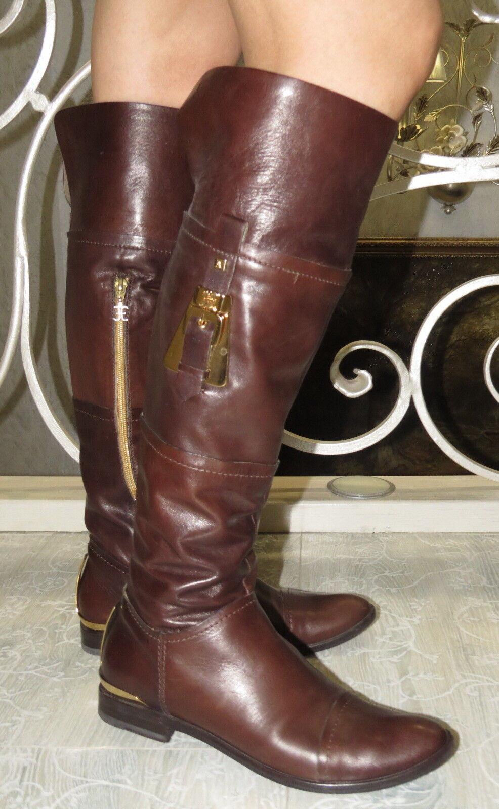 FABI Marronee LEATHER  High stivali Dimensione 37 7.5 Made in ITALIA  miglior prezzo migliore