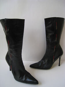 DUNE BLACK LEATHER MID CALF BOOTS WOMEN
