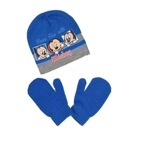 Mickey Mouse Set Mütze Handschuhe Babymütze Wintermütze 48 50 Kleinkindmütze