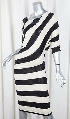 VIVIENNE WESTWOOD ANGLOMANIA Womens Black+Cream Knit Ruched Bodycon Dress S