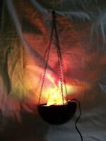 Hanging Flaming Cauldron Pot Halloween Prop Haunted House Dungeon Flame Light