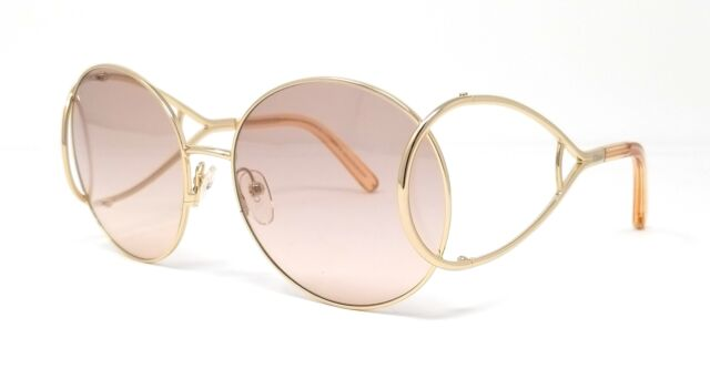 Chloe Sunglasses Ce124 S 724 Gold Peach Round 60x18x135 by Ebay Seller