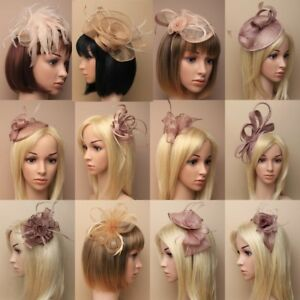 Image is loading Brown-Gold-Fascinator-Wedding-Races-Prom-Ascot-Occasion- d5448deb3f9