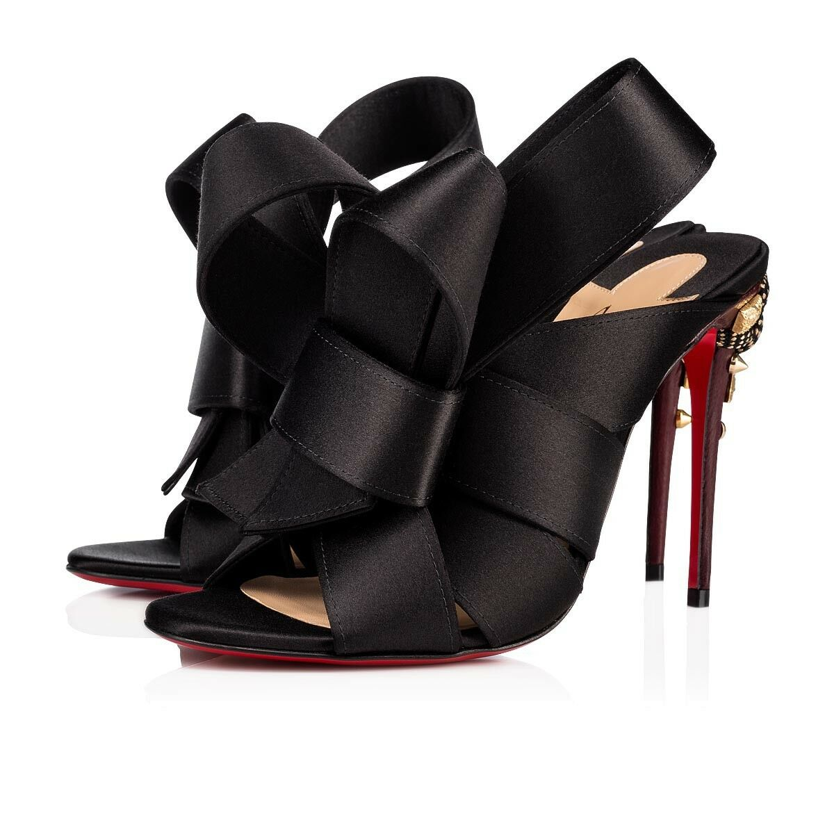 NIB Christian Louboutin Edo Mule 100 Black Satin Backless Sandal Heel Pump 36