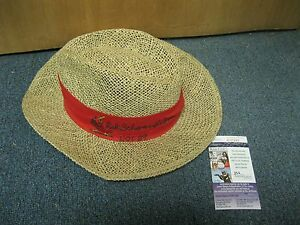 Red-Schoendienst-Autographed-Straw-Hat-JSA-Certified