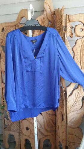 MELISSA PAIGE Cobalt Blue Split V-Neck Blouse Sateen Lng Sleeve Plus Size NWT$68