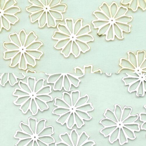 Fleur en Métal Perles Pendentifs Or Argent Perles Pour Bijoux Making Supplies #206