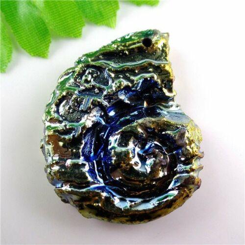Titanium Crystal Agate Druzy QUARTZ GEODE STONE Pendant Bead 45*35*8mm LZZ07