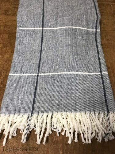 Large /& XL Grey Checked Soft Brushed Throw Bed Sofa Blanket Warm Tasselled