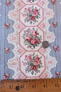 """French Antique Printed Lace & Roses Cotton Home Fabric c1890-1900~1yd10""""LX31""""W"""