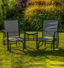Grey 2 Two Seater Rocking Chair Garden Furniture Rocker Love Seat Outdoor Table