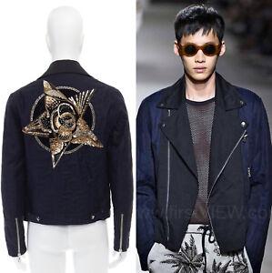 new-DRIES-VAN-NOTEN-blue-quilted-gold-star-emblem-embellished-biker-jacket-S