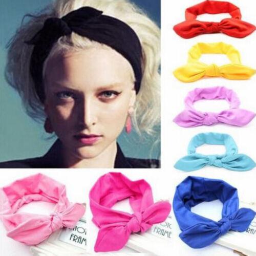 Women Girl Elastic Stretch Plain Rabbit Bow Knotted Hair Band Headband Turban