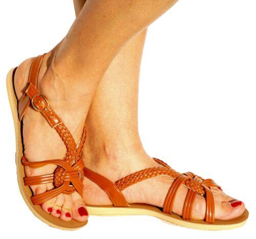 Women/'s Sandal Side Buckle Braided Flat Slingbacks Open Toe Casual Flip Flops