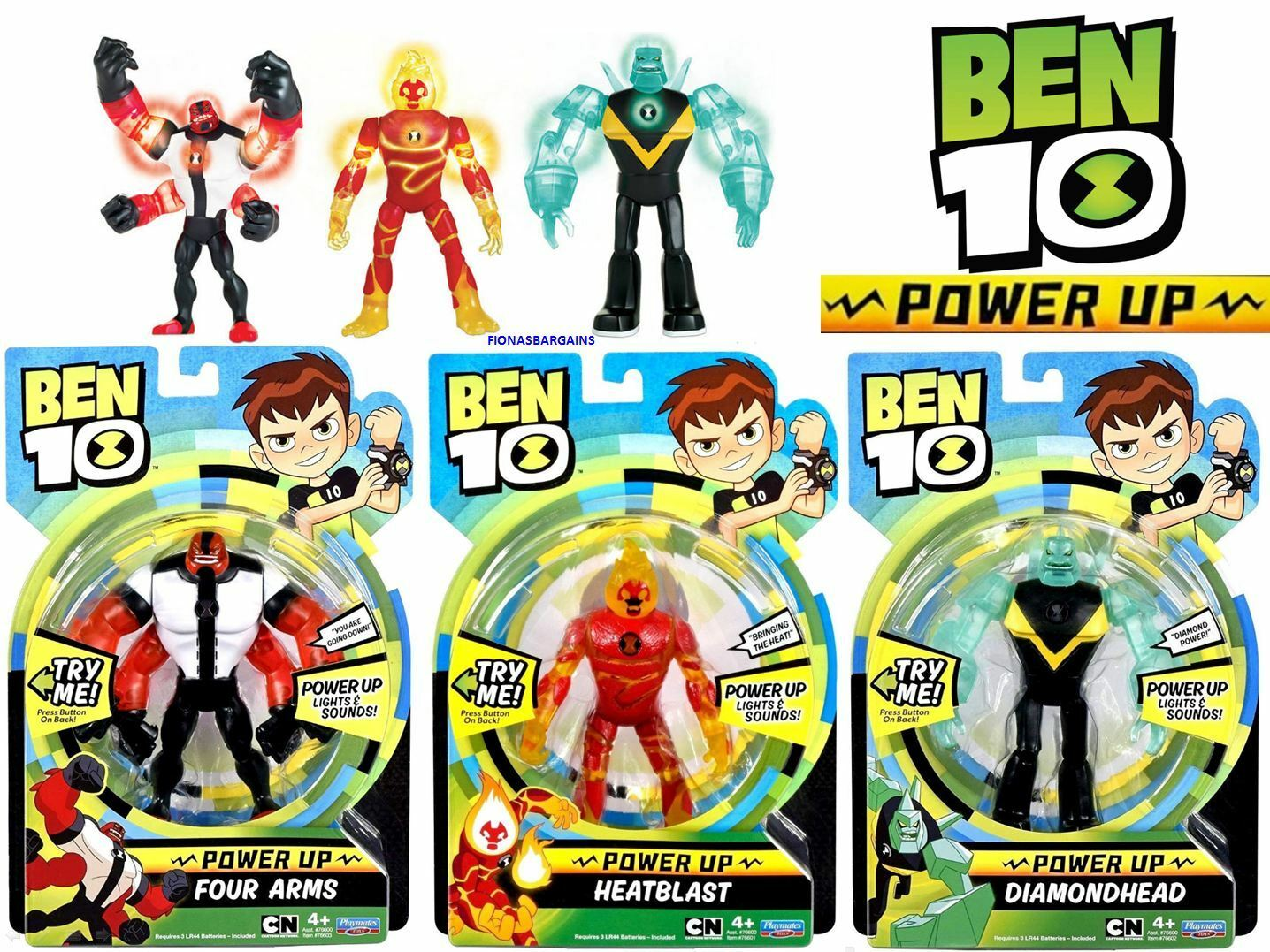 Ben 10 Power Up Deluxe Figures Choose Heatblast Diamondhead Four Arms Or All 3