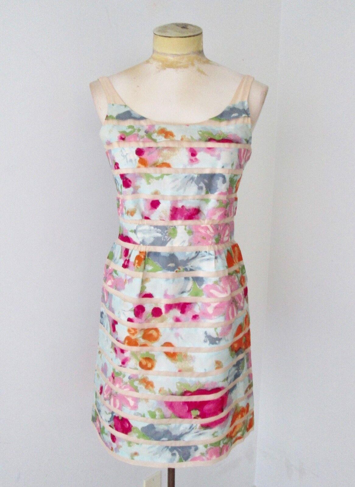 VGC J Crew Collection 100% Silk Floral Strips Sleeveless Romantic A-Line Dress 0