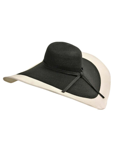 Buy Black   White Ultra Wide Floppy Hat With 8