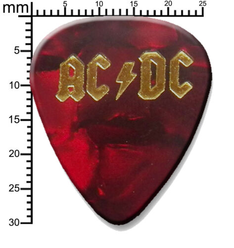 ACDC Gold printed Guitar Pick Plectrum necklace bracelet keyring Red pearl