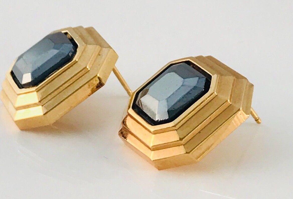 Vintage Lanvin Gold Tone and hematite Square earr… - image 3