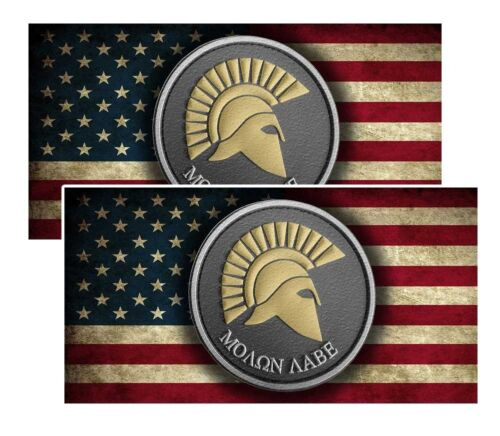 Molon Labe Distressed American Flag Decals Pack Of Two