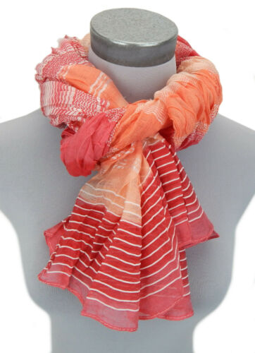 Ella Jonte écharpe rouge corail blanc Echarpe femmes printemps été rayures Viscose
