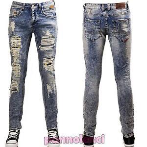 Lunedi arteria padrona di casa  Jeans UOMO pantaloni denim strappi casual SMILE emoticons slim nuovi AD6851    eBay