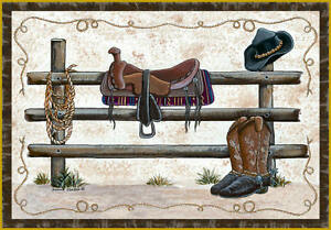"Western Area Rug 37""x52"" Cowboy Ranch Hat Boots Saddle Ranch Carpet Decor Rustic"