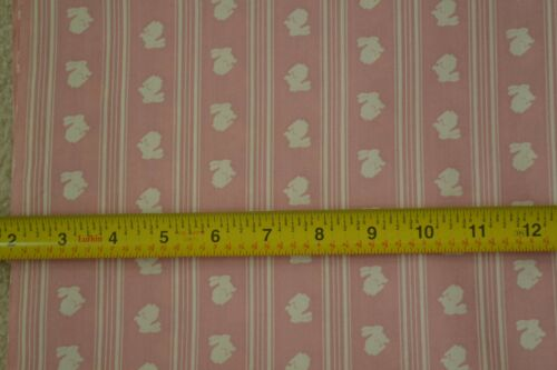 """45/"""" Wide White Bunnies on Dusty-Pink Poly//Cotton M6752 By-the-Half-Yard"""