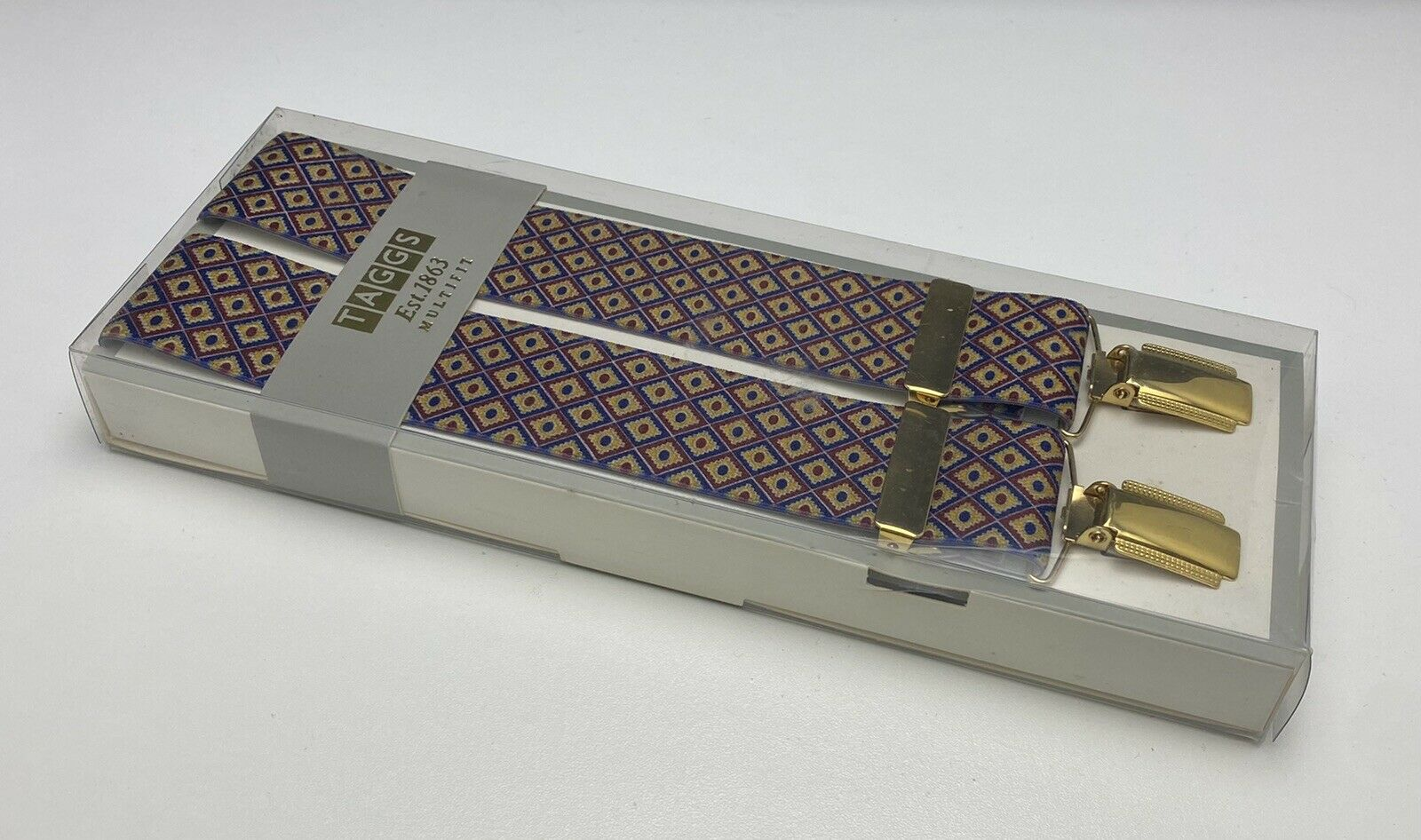 Taggs Braces Diamond Pattern Gold Clip Fit Hardware Made in England BNIB