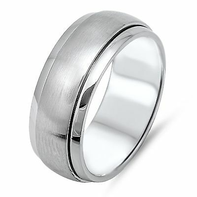 Stainless Steel Matte Finished Plain Flat Band Ring with Clear CZ