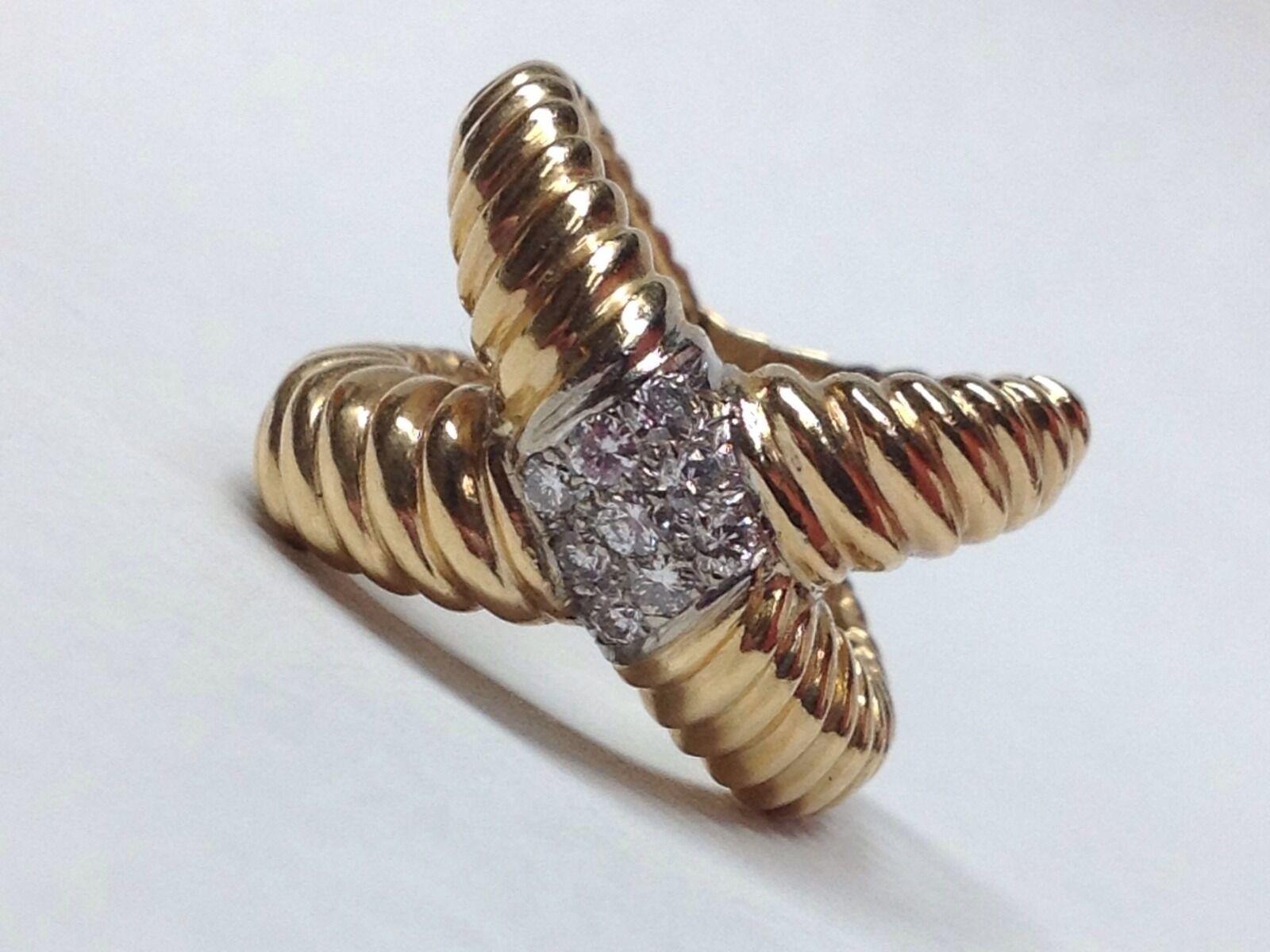 GORGEOUS CredVER DIAMOND 18K YELLOW gold RING SIZE 5.5