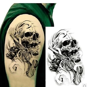 Removable Waterproof Skull Tattoo Body Arm Leg Art Temporary Tattoo Sticker