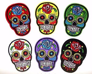 Sugar-Candy-Skull-Iron-On-Patch-Badge-Day-of-the-Dead-Transfer-Jacket-Hat-Bag