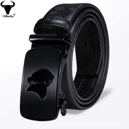 Black Leather Mens Belts Automatic Buckles Ratchet Dress Jeans Waistband Straps