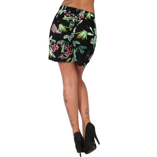 Leichte Shorts Blumen Blätter Band Gürtel Baumwolle Sommer Hose glatter Bund E13