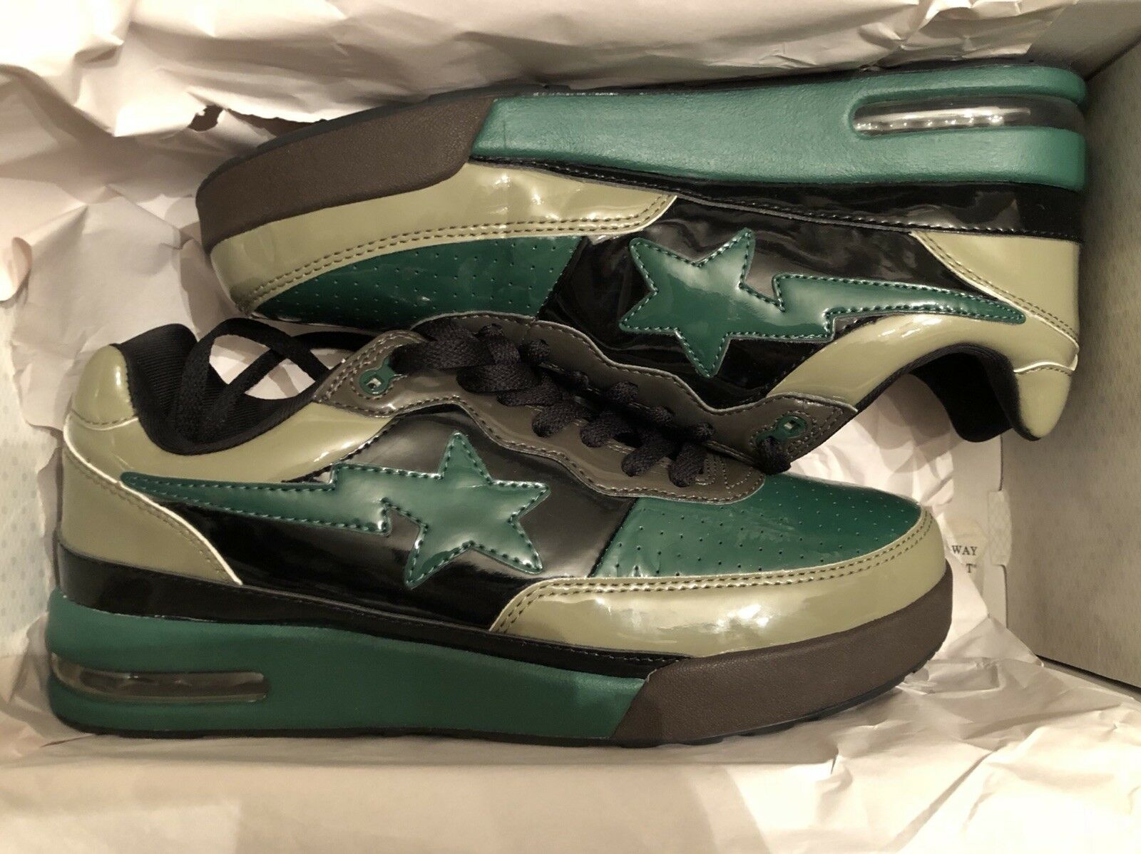 Bape Roadsta Green Camo Patent Leather  Authentic