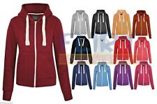 Plain Hoodie Zipper Sweatshirt Hooded Zip Top Jacket Hoody Sweater Womens Ladies