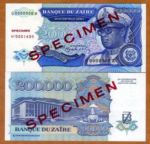 UNC SPECIMEN 200,000 Zaires 1992 200000 P-42s Zaire 42