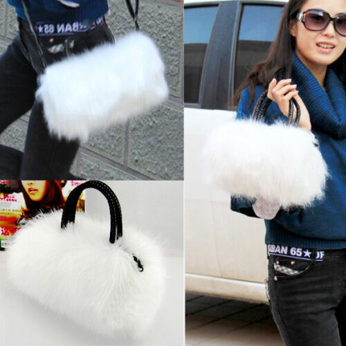 White Women Pretty Cute Faux Rabbit Fur Handbag Shoulder Messenger Bag Tote *DC