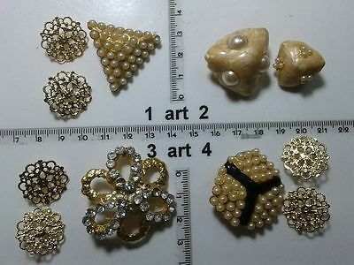 1 Lotto Bottoni Gioiello Strass Smalti Perle Vetro Buttons Boutons Vintage G13