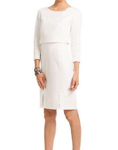 Trina Turk White Florence Popover Top Ponte Sheath Dress Size  4
