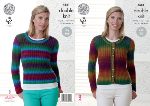 Easy Knit Double Knitting Pattern Womens Ribbed Cardigan Jumper King Cole 4681