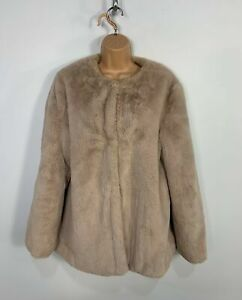 WOMENS-NEW-LOOK-LIGHT-BROWN-CASUAL-FAUX-FUR-EVENING-OVER-COAT-JACKET-SIZE-UK-14