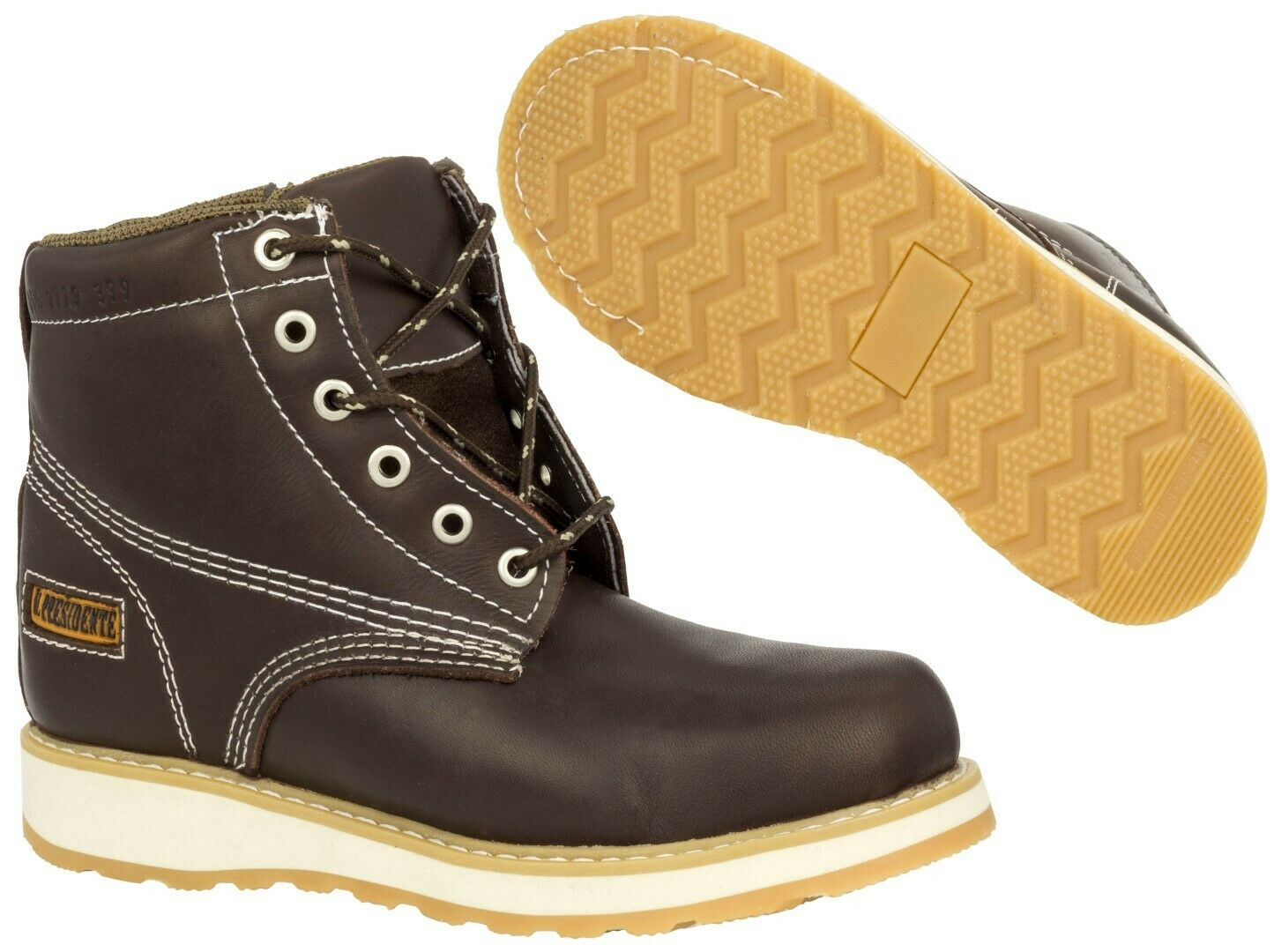 Mens Leather Work Boots Lace Up Zipper Oil Resistant Rubber Soles Brown